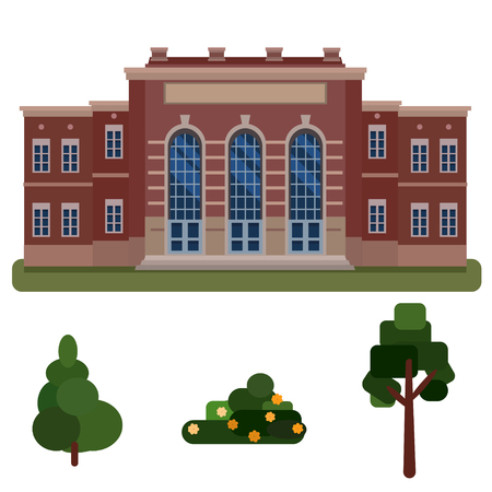 Building high school, public building, administration tree,spruce, bush isolated on white background Banque d'images - 127977569