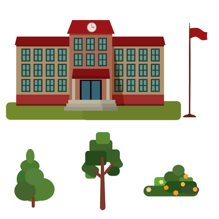 Building high school, public building, administration tree,spruce, bush isolated on white background 写真素材 - 122745601