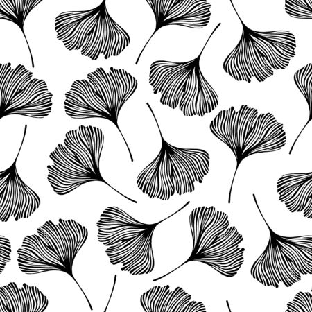 ginkgo: Floral seamless pattern with ginkgo leaves.