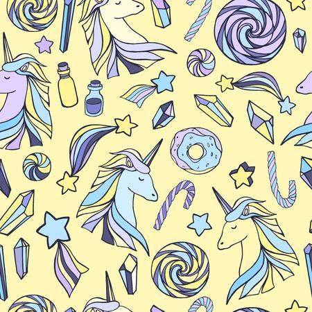 legendary: Seamless pattern with unicorns and magic items. Illustration