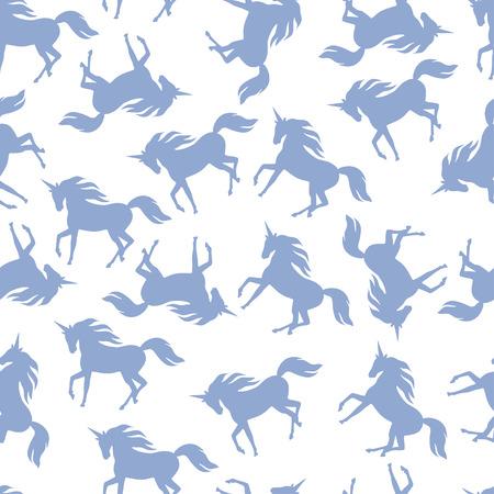 miraculous: Realistic unicorn silhouette seamless pattern. Illustration