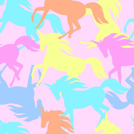 legendary: Realistic unicorn silhouette seamless pattern. Illustration