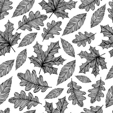 oktober: Black and white seamless pattern with hand drawn leaves. Illustration