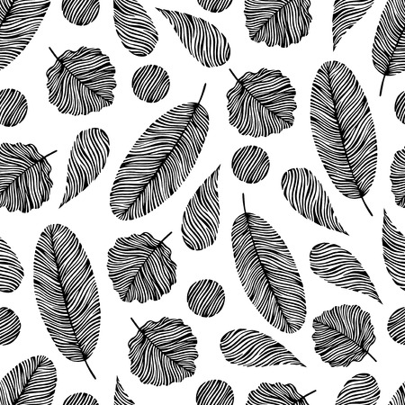 oktober: Seamless pattern with hand drawn elements. Leaves, drops and circles shapes.