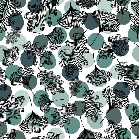 oktober: Seamless pattern with hand drawn leaves on a polka dot background.