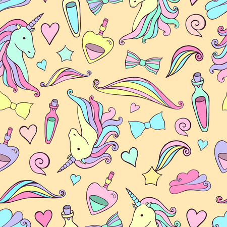 legends: Seamless pattern with unicorns and magic items. Vector.
