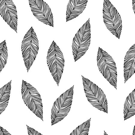 oktober: Black and white leaves seamless pattern. Vector.