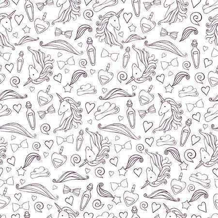 Seamless pattern with unicorns and magic items. Illustration