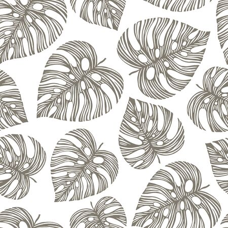 drawing trees: Vintage seamless pattern with exotic leaves. Illustration