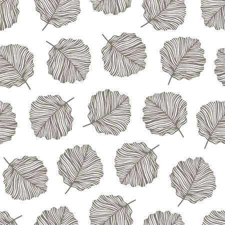 oktober: Vintage seamless pattern with hand drawn aspen leaves. Illustration