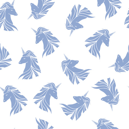 a legend of magic: Seamless pattern with silhouettes of unicorns. Illustration