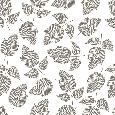 oktober: Vintage seamless pattern with hand drawn leaves.