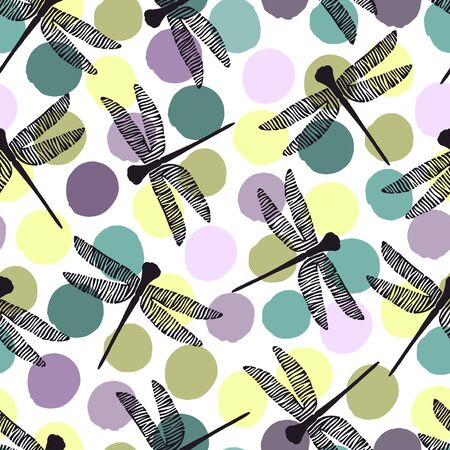 dragonflies: Seamless pattern with dragonflies on a polka dot background.