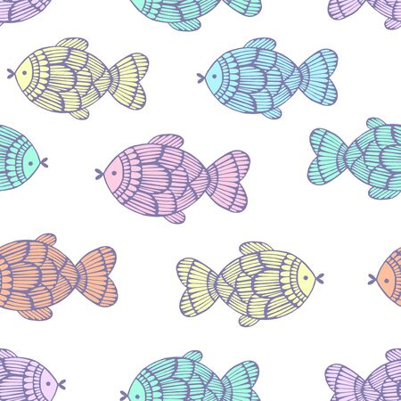 fishes: Seamless pattern with colorful fishes.