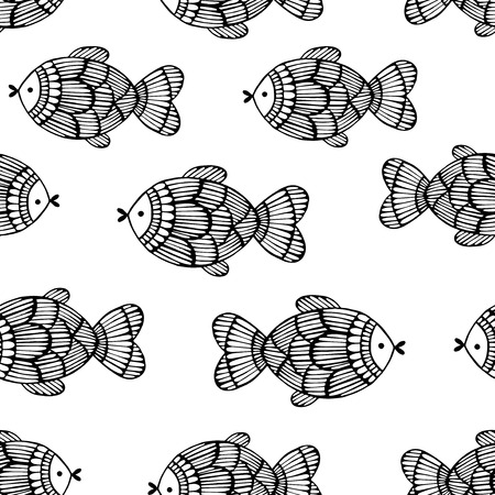 fishes: Seamless pattern with fishes. Illustration