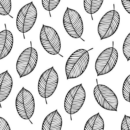 drawing trees: Seamless pattern with leaves. Black and white background.