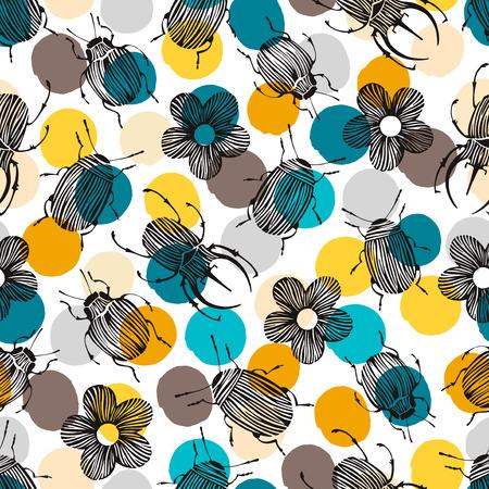 与甲虫和花的无缝的样式在圆点背景。