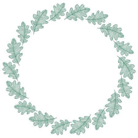 Marco del círculo del vector, corona hecha de hojas de roble. decoración de círculo. Ilustración de vector