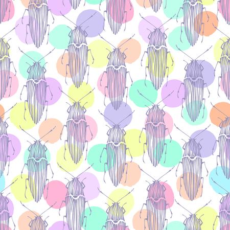 isolated illustartion: Seamless pattern with beetles
