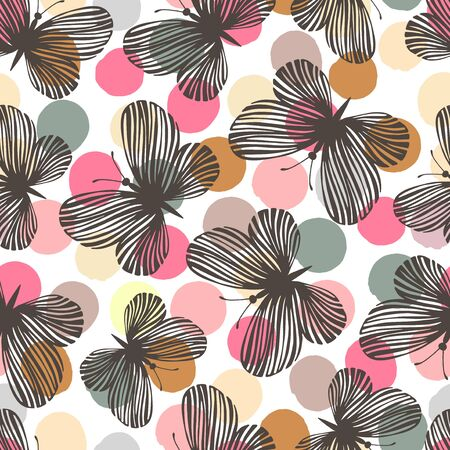 exotic butterflies: Seamless pattern with exotic butterflies. Vintage background.