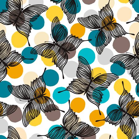 exotic butterflies: Seamless pattern with exotic butterflies. Illustration