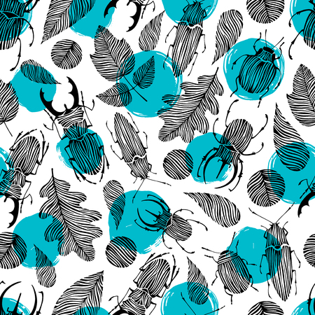 beetles: Seamless pattern with hand drawn beetles and leaves. Forest background.