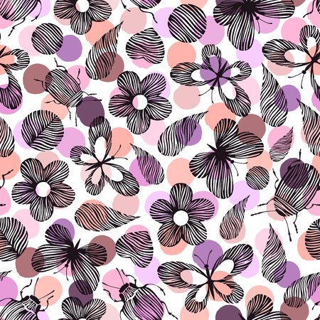Seamless pattern with hand drawn beetles, leaves and butterflies on a polka dot background.