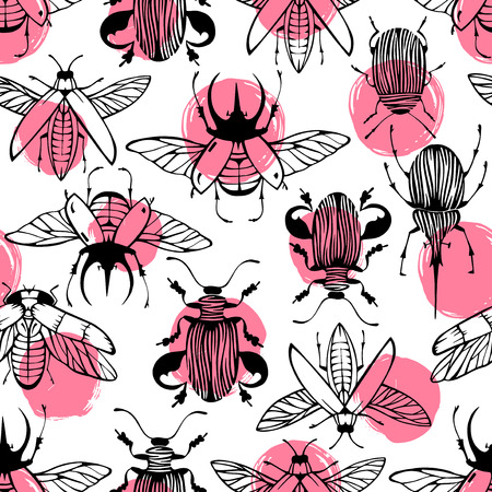 beetles: Seamless pattern with hand drawn beetles.