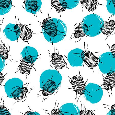 isolated illustartion: Seamless pattern with beetles. Illustration