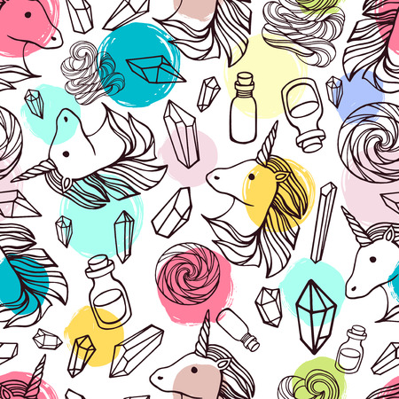 Seamless pattern with unicorns and magic items on a polka dot background.