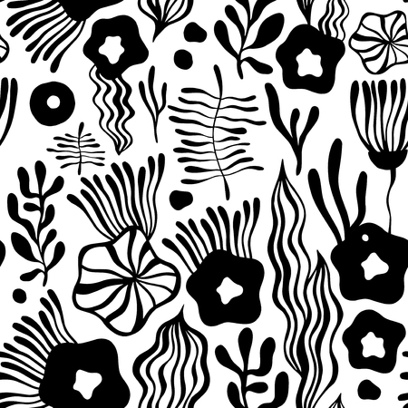botanic: Vector flower pattern. Seamless botanic texture, detailed flowers illustrations. Can be used for wallpaper, web page background, surface textures....... Illustration