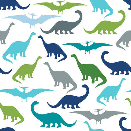 Seamless pattern with cartoon dinosaurs. For cards, party, banners, and children room decoration.
