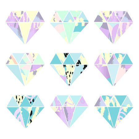 Set of crystals. Geometric shapes. Vector. Иллюстрация