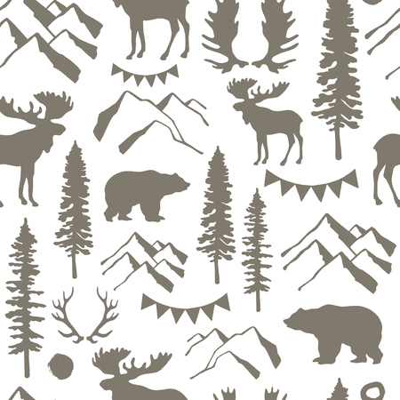 Forest seamless pattern. Wild nature. Ideal for cards, invitations, party, banners, baby shower, preschool and children room decoration.