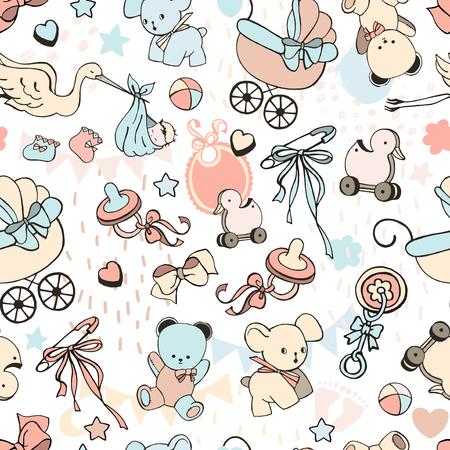 Modèle sans couture de vecteur avec des jouets vintage. Illustration d'enfants mignons. Carte pour enfants avec petits oursons en textile.