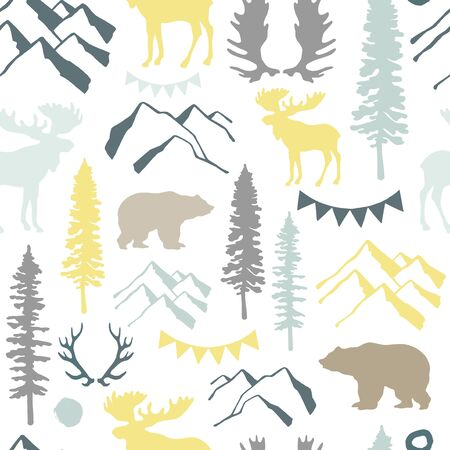 Forest seamless pattern. Wild nature. Ideal for cards, invitations, party, banners, baby shower, preschool and children room decoration. Stock fotó - 133976435