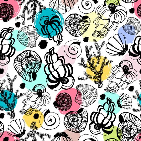 Seamless pattern with seashells. Vector background.