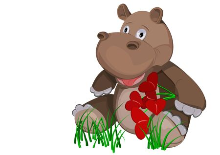 debonair: Cheerful hippo with a bouquet of flowers in the form of heart  Picture of Valentine s Day