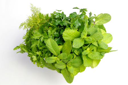 Heart-shaped bouquet of fresh herbs and spicesn Stock Photo