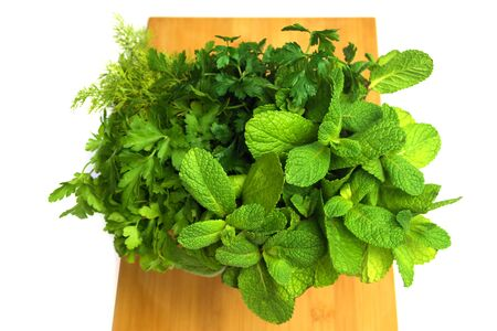Bouquet of fresh herbs and spices on board