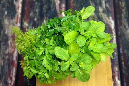Bouquet of fresh herbs and spices Stock Photo