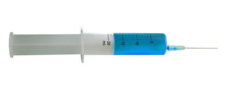 Isolated syringe with needle with blue liquid on white background