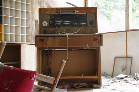 An old telephone exchange in an abandoned hotel reception