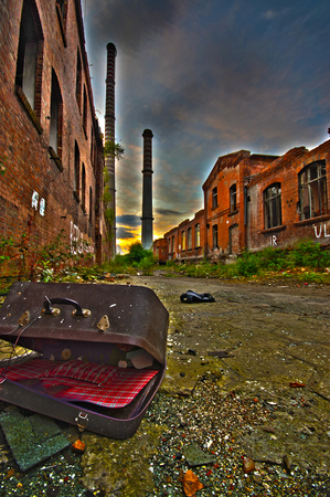 destructive: Ruined factory as post apocalypse scenery. After nuclear war concept - vivid color.