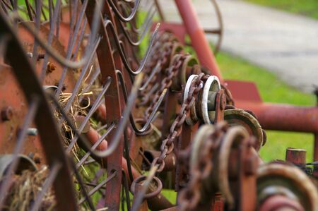 Old agriculture machine - rake for hay