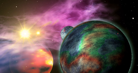 Exoplanets in a distant solar system with nebula clouds in the background. Abstract concept of space planets exploration.