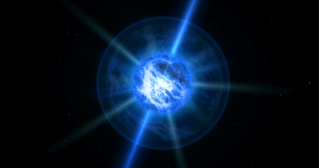 Blue quasar storm in space. Concept of blue sun star with energy clouds and jets. 版權商用圖片