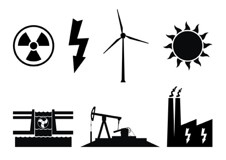 Electricity production symbols. Energy icons of nuclear, wind turbine, solar, hydroelectricity and fuels. Illustration
