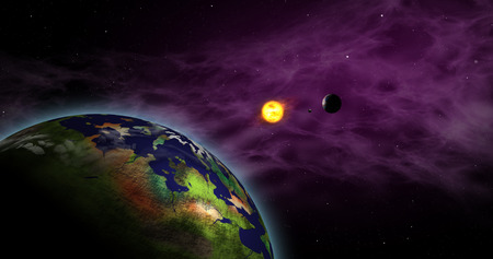 Earth-like exoplanet in foreign solar system with sun star. Distant cosmos exploration. Planets, moons, sun and nebula galaxy clouds in background.