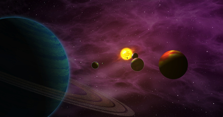Exoplanets in foreign solar system with sun star. Distant cosmos exploration. Planets, moons, sun and nebula galaxy clouds in background.